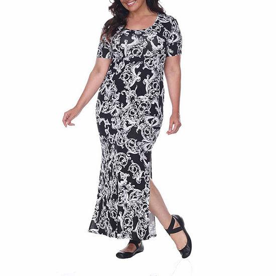 White Mark-Plus Jasmine Short Sleeve Paisley Maxi Dress