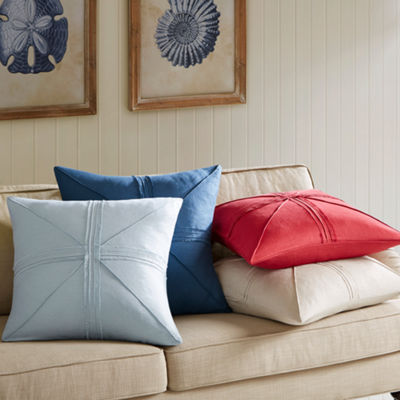 Madison Park Enid Oversized Linen Frayed Decorative Throw Pillow