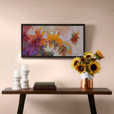 Madison Park Golden Sunflowers Hand Embellish Canvas