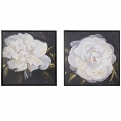 Madison Park Signature White Camellia Gel Coat 2-pc. Canvas Art