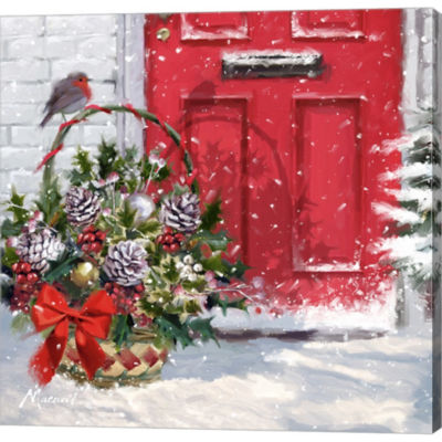 Christmas Basket Gallery Wrapped Canvas Wall Art On Deep Stretch Bars