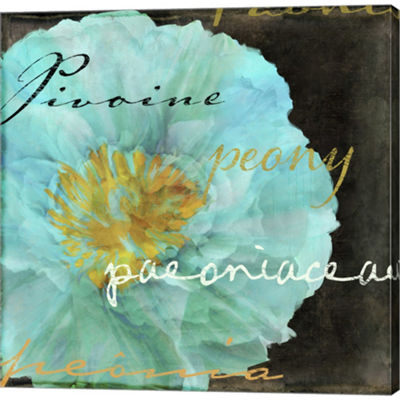 Metaverse Art Blue Peony Dark Gallery Wrapped Canvas Wall Art