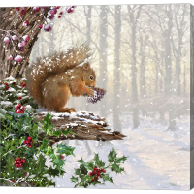 Christmas Squirrel Gallery Wrapped Canvas Wall ArtOn Deep Stretch Bars
