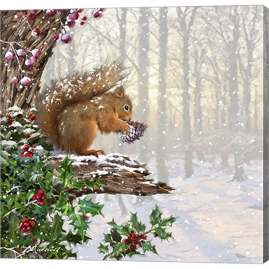 Metaverse Art Christmas Squirrel Gallery Wrapped Canvas Wall Art