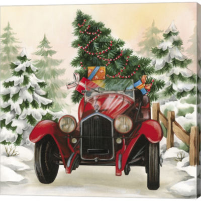 Metaverse Art Christmas Tree Classic Car Ride I Gallery Wrapped Canvas Wall Art