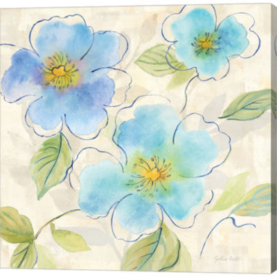 Blue Poppy Garden I Gallery Wrapped Canvas Wall Art On Deep Stretch Bars
