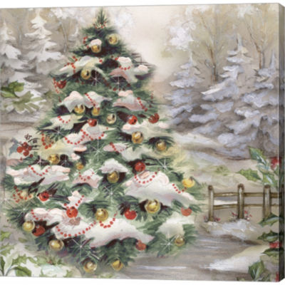 Christmas Tree In Snowy Woods Gallery Wrapped Canvas Wall Art On Deep Stretch Bars