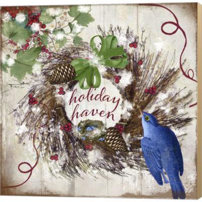 Metaverse Art Bluebird Christmas II Gallery Wrapped Canvas Wall Art