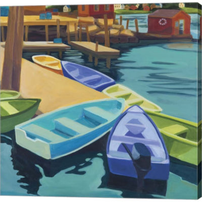 Boats VInal Haven Gallery Wrapped Canvas Wall ArtOn Deep Stretch Bars