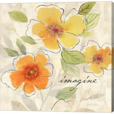 Metaverse Art Bright Yellow Garden Trio III Gallery Wrapped Canvas Wall Art