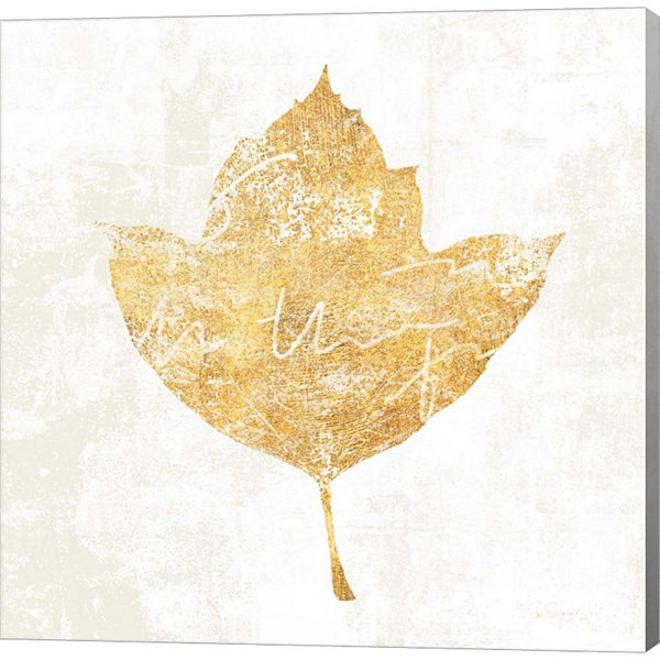 Metaverse Art Bronzed Leaf I Gallery Wrapped Canvas Wall Art