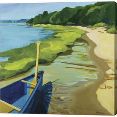 Afternoon Canoe Ride Gallery Wrapped Canvas Wall Art On Deep Stretch Bars