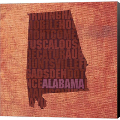 Alabama State Words Gallery Wrapped Canvas Wall Art On Deep Stretch Bars