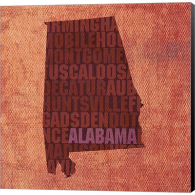 Metaverse Art Alabama State Words Gallery WrappedCanvas Wall Art