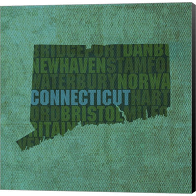 Metaverse Art Connecticut State Words Gallery Wrapped Canvas Wall Art