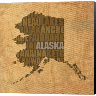 Metaverse Art Alaska State Words Gallery Wrapped Canvas Wall Art
