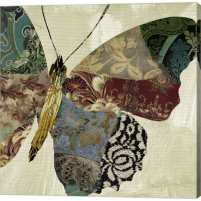 Butterfly Brocade II Gallery Wrapped Canvas Wall Art On Deep Stretch Bars
