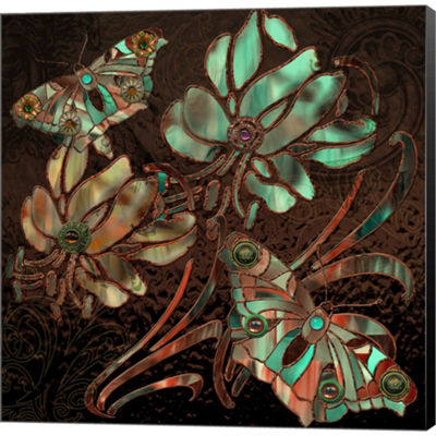 Metaverse Art Copper Butterflies Gallery Wrapped Canvas Wall Art