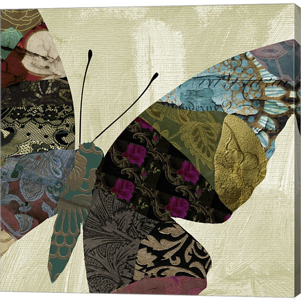 Butterfly Brocade IV Gallery Wrapped Canvas Wall Art On Deep Stretch Bars