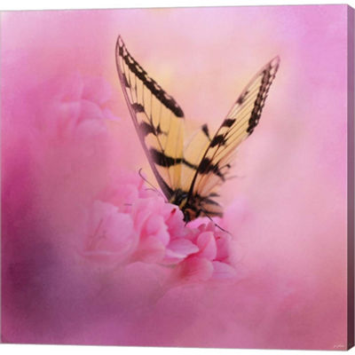 Metaverse Art Butterfly On The Azaleas Gallery Wrapped Canvas Wall Art