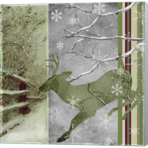 Country Christmas Deer Gallery Wrapped Canvas WallArt On Deep Stretch Bars