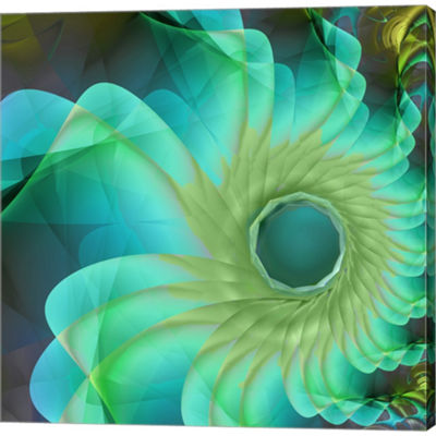 Metaverse Art Aqua In Bloom Gallery Wrapped Canvas Wall Art On Deep Stretch Bars