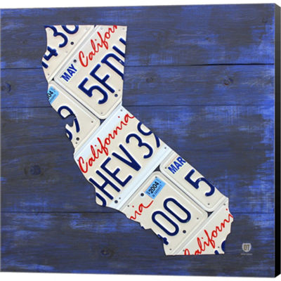 Metaverse Art California License Plate Map Gallery Wrapped Canvas Wall Art On Deep Stretch Bars