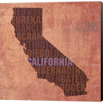 California State Words Gallery Wrapped Canvas WallArt On Deep Stretch Bars