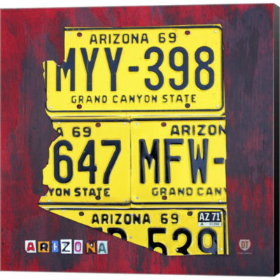 Arizona License Plate Gallery Wrapped Canvas WallArt On Deep Stretch Bars