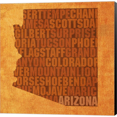Arizona State Words Gallery Wrapped Canvas Wall Art On Deep Stretch Bars