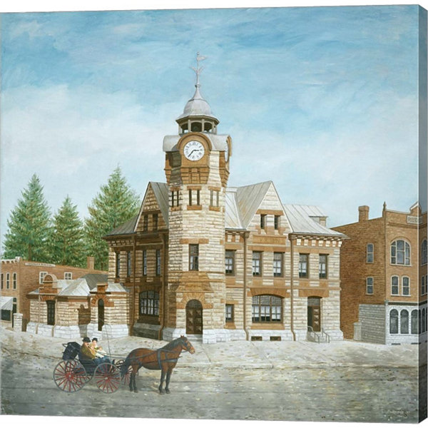 Metaverse Art Arnprior Post Office With Horse AndBuggy Gallery Wrapped Canvas Wall Art