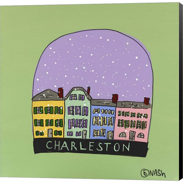 Charleston Snow Globe Gallery Wrapped Canvas WallArt On Deep Stretch Bars