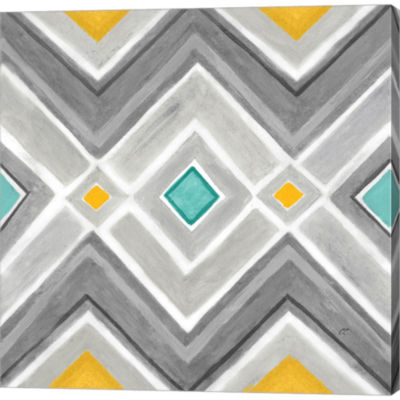 Metaverse Art Chevron Tile I Gallery Wrapped Canvas Wall Art