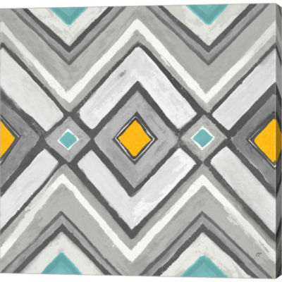 Metaverse Art Chevron Tile II Gallery Wrapped Canvas Wall Art
