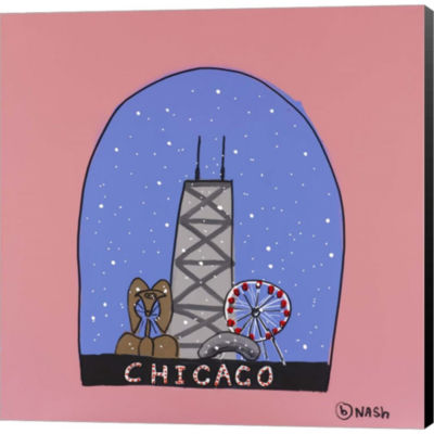 Metaverse Art Chicago Snow Globe Gallery Wrapped Canvas Wall Art