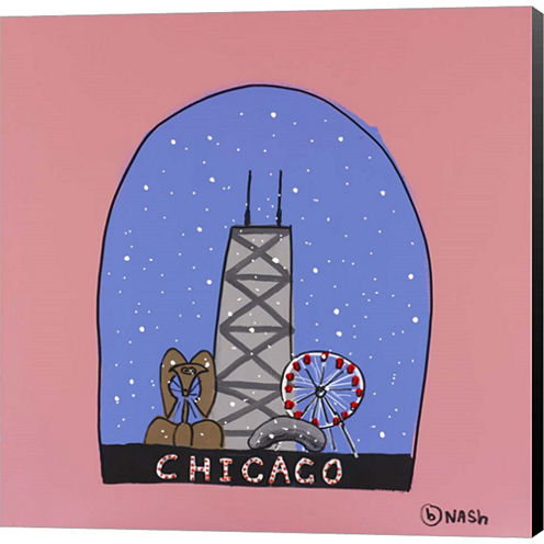 Chicago Snow Globe Gallery Wrapped Canvas Wall ArtOn Deep Stretch Bars