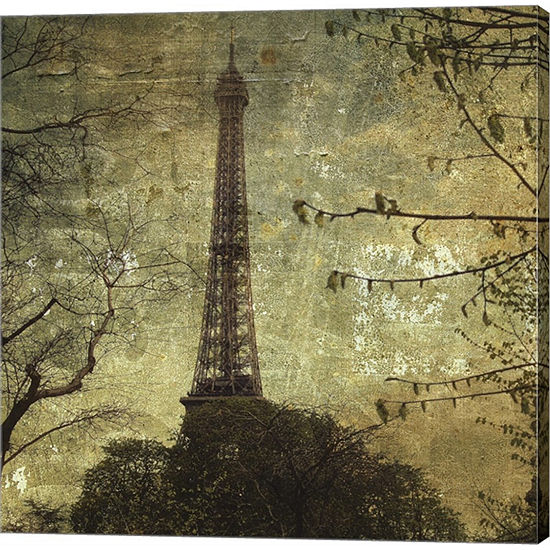 Metaverse Art Eiffel Tower Gallery Wrapped CanvasWall Art