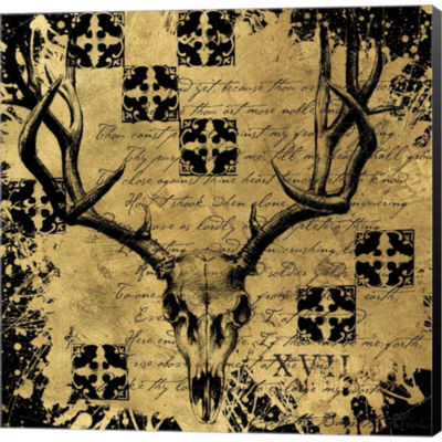 Metaverse Art B&G Deer Skull Gallery Wrapped Canvas Wall Art
