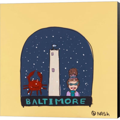 Baltimore Snow Globe Gallery Wrapped Canvas Wall Art On Deep Stretch Bars