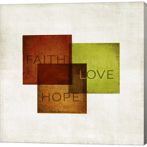 Faith; Hope; Love I Gallery Wrapped Canvas Wall Art On Deep Stretch Bars