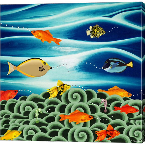 Fishtales I Gallery Wrapped Canvas Wall Art On Deep Stretch Bars