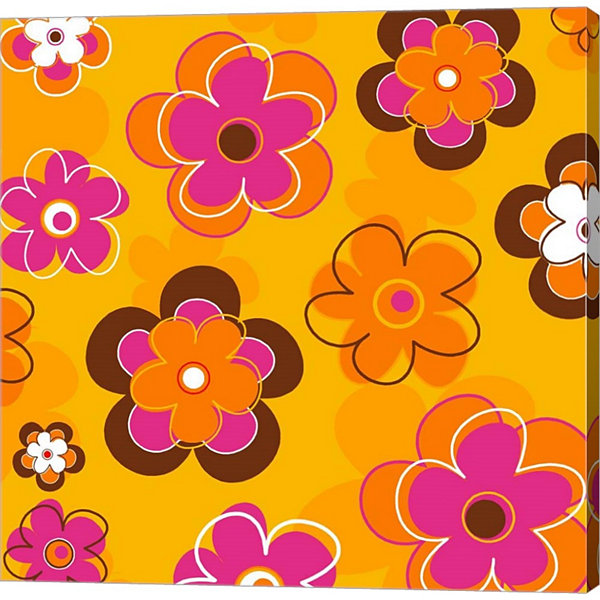 Metaverse Art Floral On Orange Gallery Wrapped Canvas Wall Art On Deep Stretch Bars