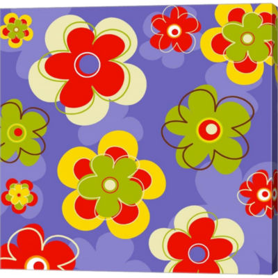 Metaverse Art Floral On Purple Gallery Wrapped Canvas Wall Art