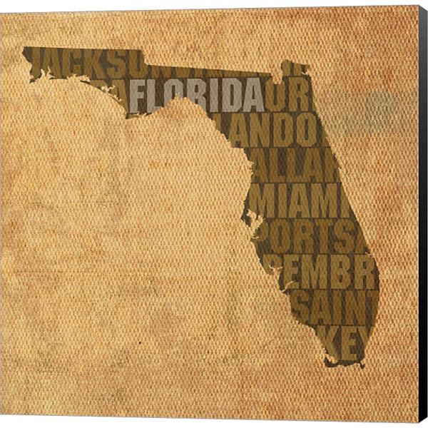 Florida State Words Gallery Wrapped Canvas Wall Art On Deep Stretch Bars