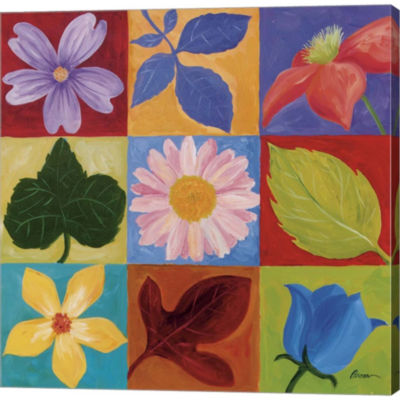 Flowers And Leaves Gallery Wrapped Canvas Wall ArtOn Deep Stretch Bars