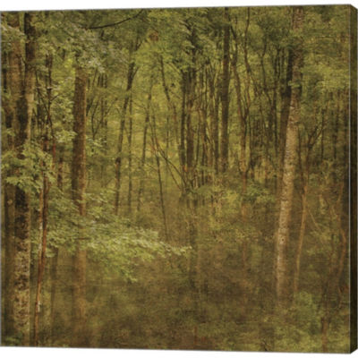 Metaverse Art Fog In Mountain Trees Gallery Wrapped Canvas Wall Art