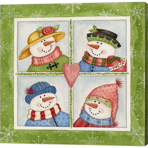 Four Snowmen Gallery Wrapped Canvas Wall Art On Deep Stretch Bars
