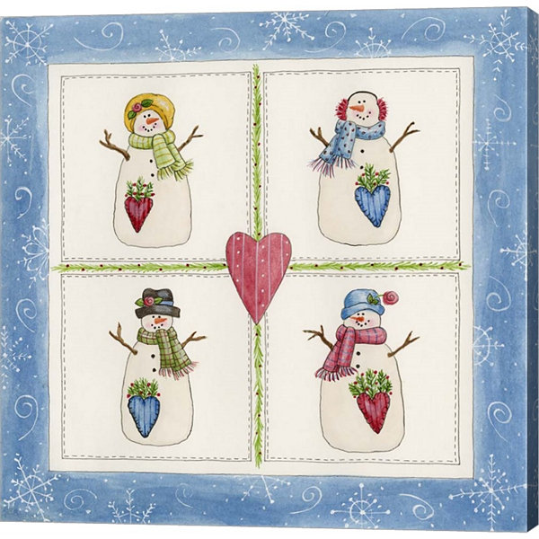 Four Snowmen With Heart Pockets Gallery Wrapped Canvas Wall Art On Deep Stretch Bars