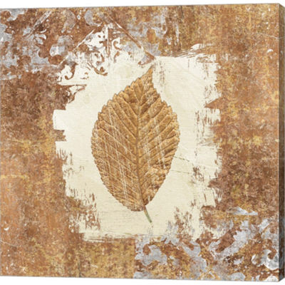 Metaverse Art Gilded Leaf II Gallery Wrapped Canvas Wall Art