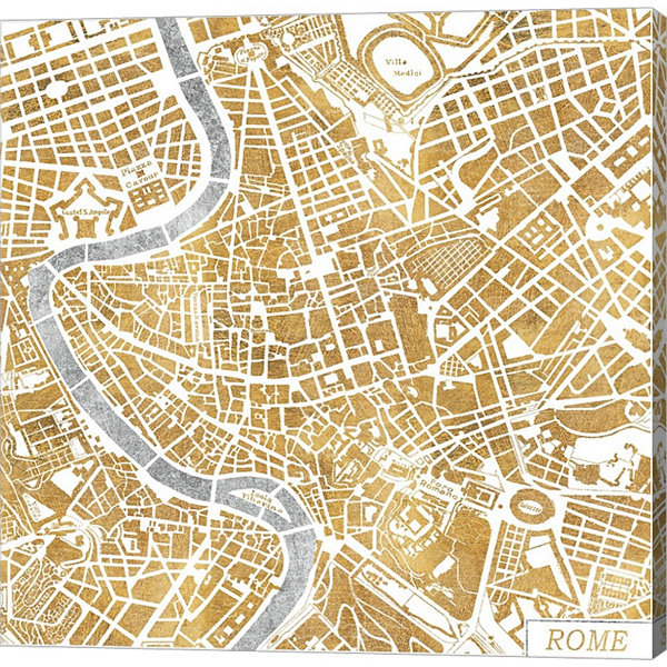 Metaverse Art Gilded Rome Map Gallery Wrapped Canvas Wall Art